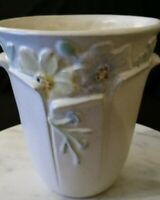 Antique Weller Vase, Ivory with Flowers