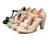 Mary Jane Vintage Womens Girls T Strap Kitten Hight Heel Bar Pump Shoes Plus Sz