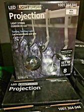 Gemmy LED LightShow Projection Swirling White Blanco Light String 8 Bulb 10.5'