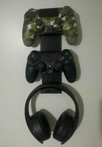 2 Controllers and Headphone Holder for PS4 PlayStation Wall Mount Stand Black