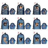 Girls School Backpack Kids Cowboy Cat Rucksack Lunch Tote Food Storage Bags Set