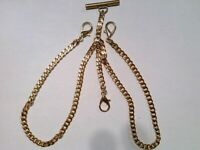 Pocket watch Double Albert Chain gold plated