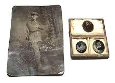 Antique Vintage Us Civil War Lot (4) Military Daguerreotype Photos Case Old
