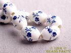 20pcs 15x10mm Loose Ceramic Porcelain Big Hole Oval Beads Deep Blue Flower