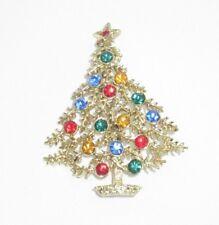 Signed B.J. Vintage Rhinestone Christmas Tree Stars Pin Brooch Gold Tone Bin8