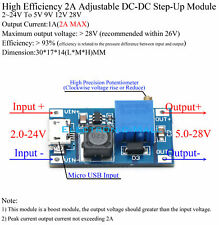 93% Efficiency 2A DCDC 2~24V To 5V 9V 12V 28V Adjustable Step-Up Converter Board