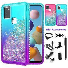 For Samsung Galaxy A21S Case Liquid Glitter Bling Phone Slim Cover w/Accessories