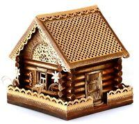 "Handmade Wood Log Cabin House Russian Izba Birch Bark Ornament 7 1/2""х7 1/2""х8"""
