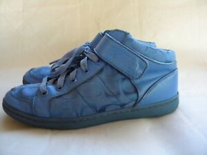 Coach Zoey Blue Signature High-Top Gym Shoes Sneakers Athletic Size 9 M