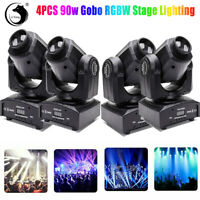4PCS RGBW Moving Head Stage Lighting LED Strobe Beam DMX512 Party Show Light 90W
