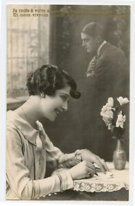 c 1930 Vintage FRENCH FLAPPER Romance Fountain Pen very deco photo postcard