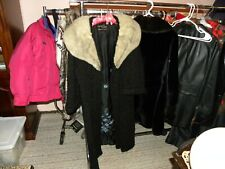 Vintage Ladies Full Legnth Coat Black Curly Wool And Mink Collar