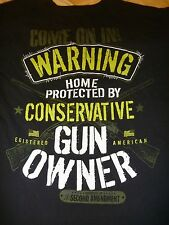 "2ND AMENDMENT T-SHIRT MEN'S M ""WARNING HOME PROTECTED BY CONSERVATIVE GUN OWNER"""