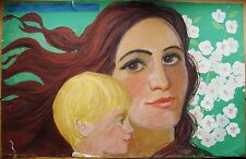 Russian Ukrainian Soviet Painting portrait mother and child woman poster realism