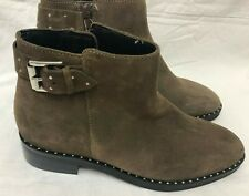 M & S WOMEN SUEDE LEATHER ANKLE COMFY PRETTY BOOTS SIZE UK 6 D EUR 39