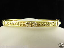 Judith Ripka 18k Yellow Gold Diamond Heart Bangle Bracelet