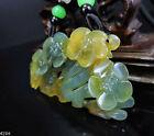 100% Natural Hand-carved Jade Pendant Jadeite Necklace plum flower 415H