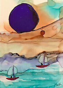 """Original ACEO boats sailing nautical sky painting by Lynne Kohler 2.5x3.5"""""""