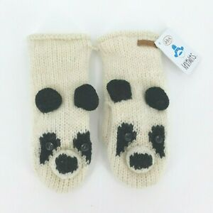 Delux Knitwits Womens Lightweight Wool Cream Panda Mittens One Size Fits All