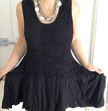 RJWEAR WOMENS DRESS BLACK SPANDEX POLY LACE SLEEVELESS Asymmetric Hem  SZ M