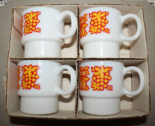 Set of 4 Hazelware Decorated 10 oz Stacker Cups/ Mugs W6809/1810 W/ Box