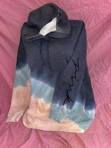 New Victoria's Secret PINK Bright Loose Fit Hoodie Sweatshirt Tie Dye XL ❤️❤️