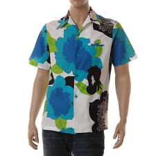 Vintage 70s Mahilini Mens Hawaiian Shirt Blue Green Black Mod Floral M