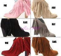 Womens Tassels Fringe Ankle Boots High Heels Slip On Bohemia Shoes Fashion Chic