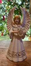 "Mcm Christmas Angel Taper Candle Holder Ceramic 10.5"" Tall Ivory Collectible"