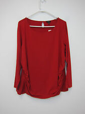 Talbots Petite Ruched Side Top - Womens 2XP - Red - NWT