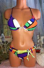 Venus Colour Block Padded Bikini Black White Yellow Green Red A Swimsuit XS 2