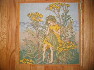 Tapestry YELLOW TANSY FAIRY Cecily M Barker wall hanging Unfinished Panel