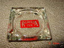Ashtray,Ramada Inn,Hotel,Smoke,Tobaccian a,Clear Glass Square w/ red background