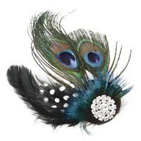 Cute Peacock Feather Bridal Wedding Hair Clip Headpiece Hair Accessory F6