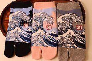 set Tabi Socks Calzini Giapponese Di L'onda Grande Di Kanagawa