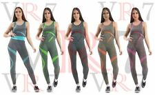 Ladies Women 2PC Yoga Track Suit Set Gym Trim Lined Tops Pants Sports Outfits
