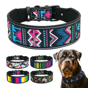 Reflective Dog Collar Medium Large Adjustable Soft Padded 4/5cm Wide Rottweiler