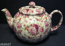 Heron Cross Pottery Strawberry Rose Chintz 6-8 Cup English Tea Pot