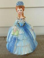VTG MCM  Girl Victorian Blue Ruffled Belle Dress Vase Planter ??NAPCO