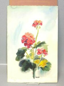 Magnificent Rare Original Jeanne Weissler Signed Watercolor Painting of a Flower