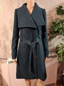 Marks and Spencer Wrap Winter Warm Belted Coat Smart M&S Jacket in Teal Green