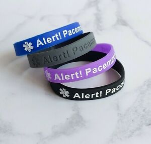 4 PACK Alert PACEMAKER Fitted Wristband Medical Alert Silicone Heart Bracelet