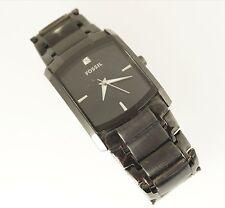 Fossil Men's FS4159 Black IP Steel Watch Square Black Analog Dial