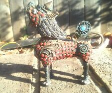 Tibetan Lion Foo Dog Good Luck Qilin Fiurine inlaid Coral & Turquoise Aquamanile