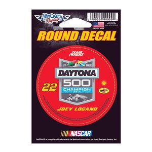 "2015 JOEY LOGANO #22 DAYTONA 500 CHAMPION 2-22-2015 FORD NASCAR 3"" ROUND DECAL"