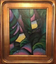 KONRAD CRAMER- CUBIST ABSTRACT WITH PALM FRONDS- OIL ON CANVAS BOARD- SPLENDID!