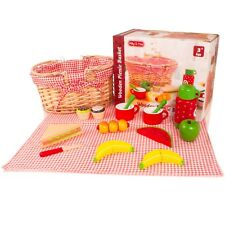 Milly &amp Ted Wooden Picnic Basket Set - Childrens Pretend Play Food Wood Toy