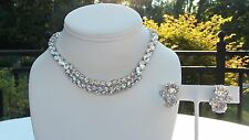 VINTAGE EISENBERG CLEAR BRIGHT RHINESTONE CHOCKER WITH  EISENBERG  CLIP EARRINGS