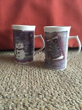 Royal Norfolk Tall Coffee Cup Mug Christmas Holiday Angel and Snowman  SET 2