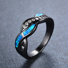 Wavy Blue Fire Opal Cross CZ Wedding Rings 10Kt Black Gold Filled Sz5-12 Women's